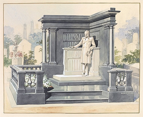 Lecreux Frères – Sketch of an unrealized tombstone of Raymond Roussel at the Père-Lachaise Cemetery, ca. 1932 Watercolor 52,5 x 63 cm