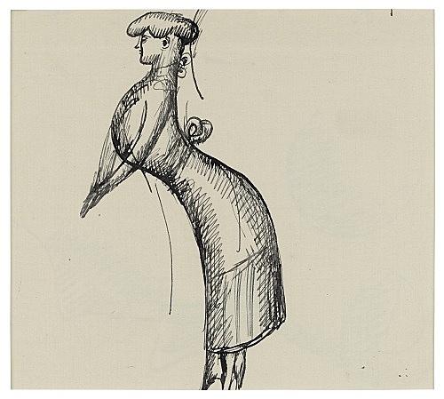 """Elie Nadelman – """"Concert Singer"""", ca. 1917 ink on paper 14.5 x 15 cm"""