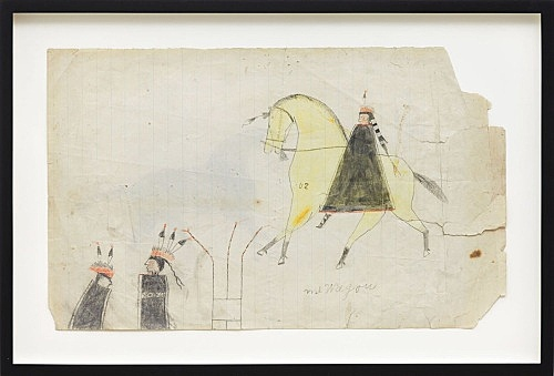 – Hidatsa ledger drawing, c. 1875 colored pencil on paper 18.5 x 31 cm