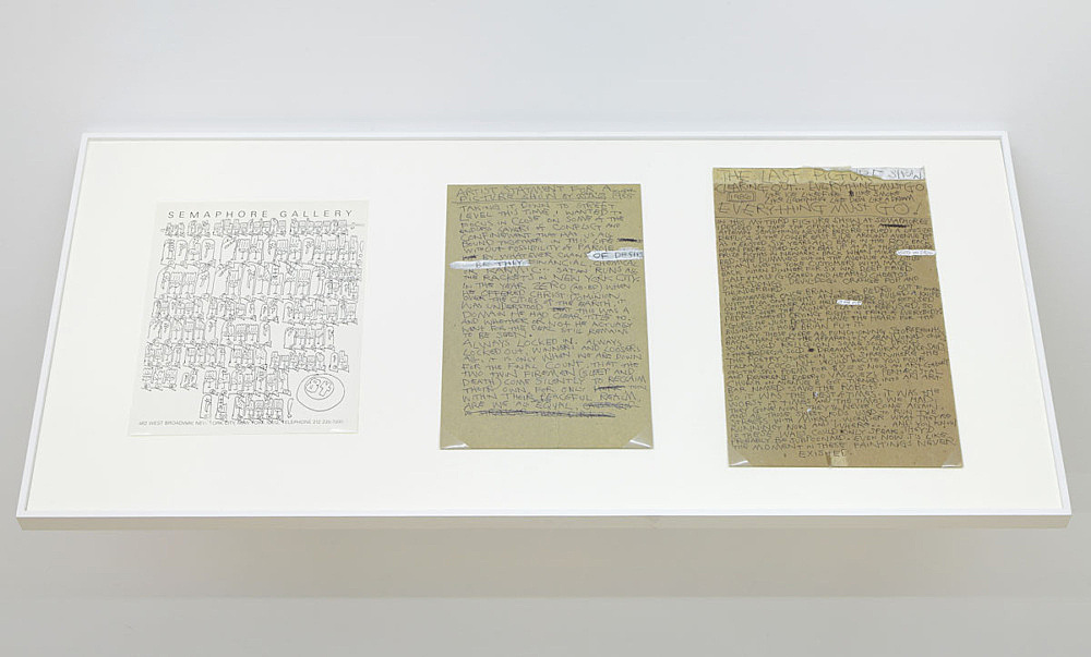 Martin Wong – Press release for Semaphore Gallery, 1984 offset printing 27.9 x 21.6 cm Martin Wong Papers Fales Library and Special Collections, New York University Two original drawings for press release for Semaphore Gallery, 1985 ink on paper 27.9 x 21.6 cm; 35.6 x 21.6 cm Collection Barry Blindermann