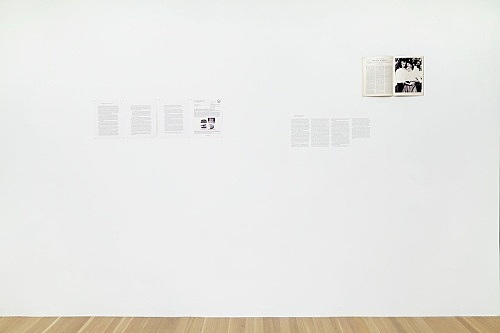 """Julie Ault – """"afterlife"""", 2014 - 2015 """"Addendum""""; """"News Release: U.S. Marshals to Auction Unabomber's Personal Effects""""; """"Dishes, Diaries, and Cemeteries""""; Janet Malcolm, """"The Silent Woman,"""" opening spread, The New Yorker, August 23, 1993 printout on paper, type transfer, magazine"""