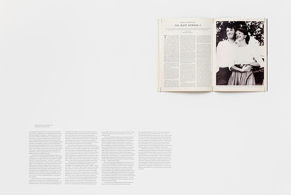 """Julie Ault – """"afterlife"""", 2014 – 2015 """"Dishes, Diaries, and Cemeteries""""; Janet Malcolm, """"The Silent Woman"""", opening spread, The New Yorker, August 23, 1993"""