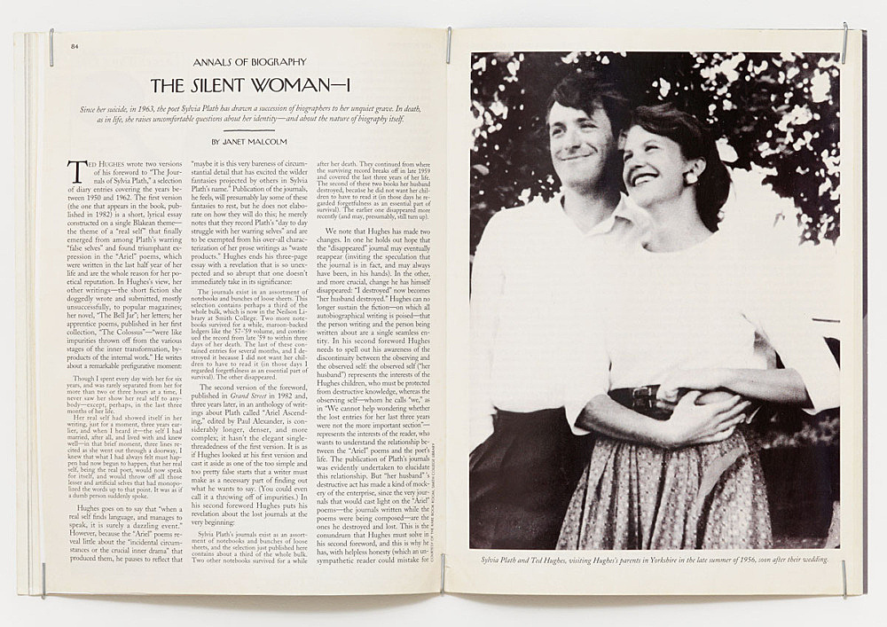 """Julie Ault – """"afterlife"""", 2014 – 2015 Janet Malcolm, """"The Silent Woman"""", opening spread, The New Yorker, August 23, 1993"""