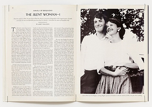 "Julie Ault – ""afterlife"", 2014 - 2015 Janet Malcolm, ""The Silent Woman"", opening spread, The New Yorker, August 23, 1993"