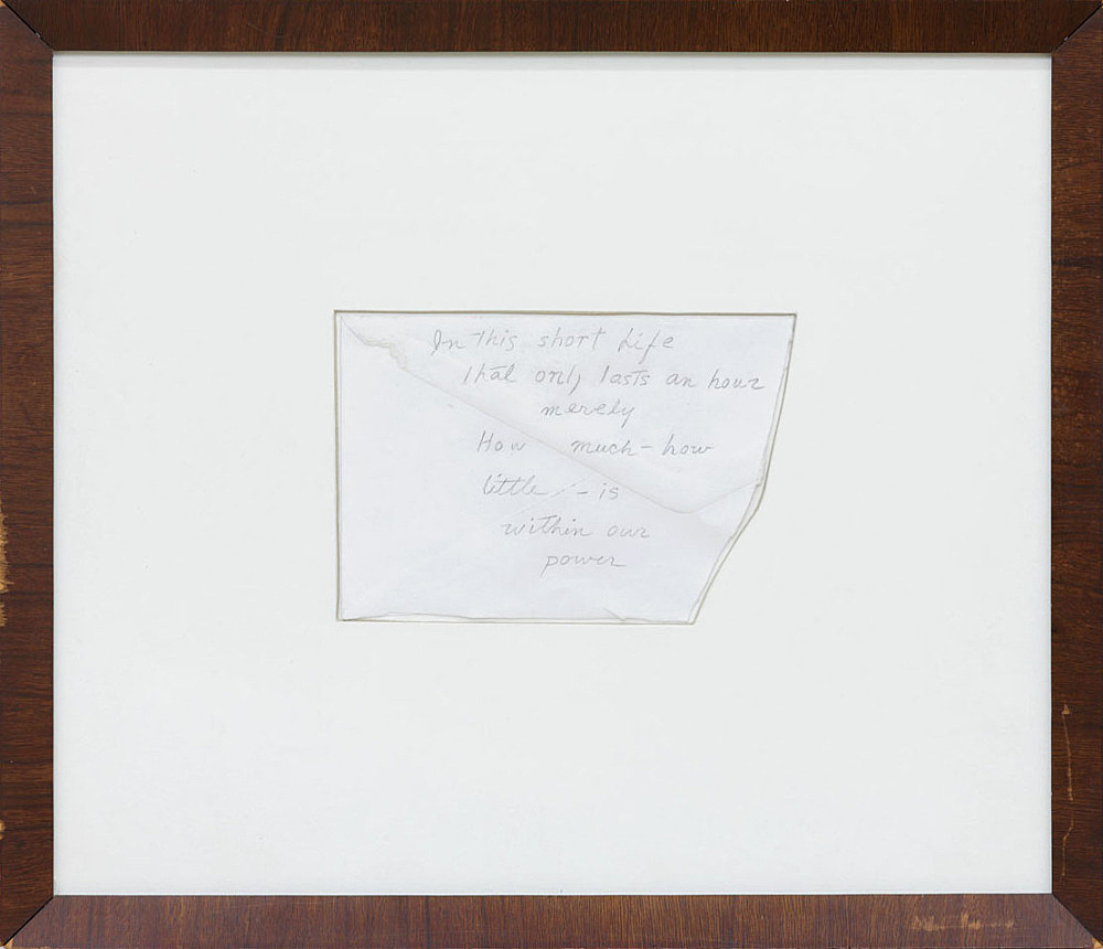 """James Benning – """"Untitled Love"""", 2014 pencil on envelope in artist frame detail"""