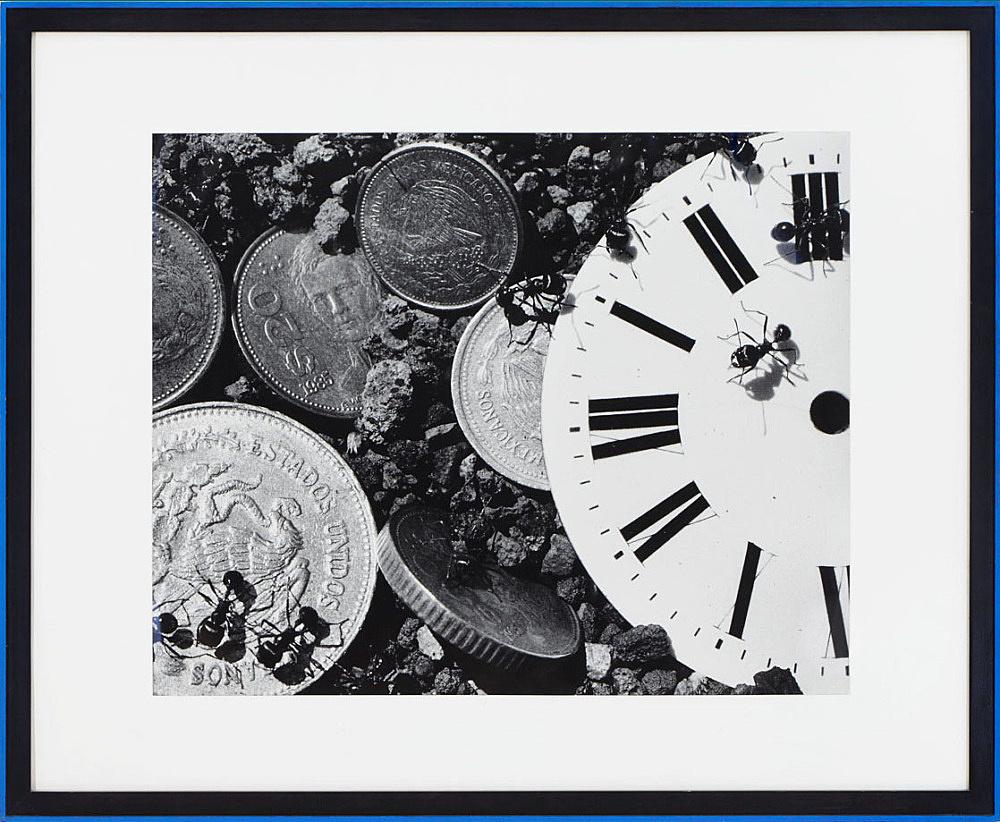 "David Wojnarowicz – ""Untitled from Ant Series (time/money)"", 1988 gelatin silver print in artist frame 102 x 124 cm"