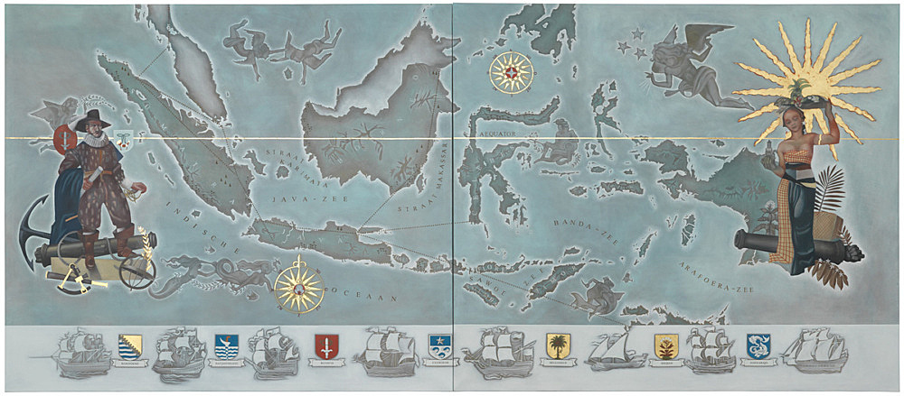 """Lucy McKenzie – """"Map of the Dutch East Indies"""", 2015 oil and gold leaf on canvas 2 parts, each 200 x 220 x 2,5 cm"""