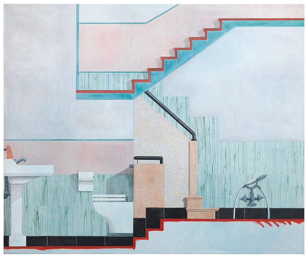 "Lucy McKenzie – ""Bathroom"", 2015 oil on canvas 250 x 300 x 2,5 cm"
