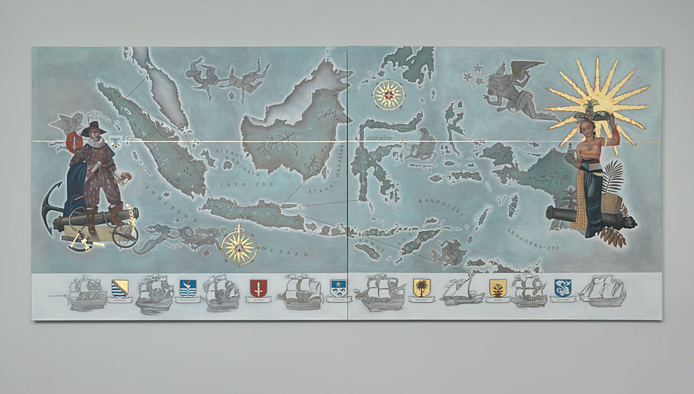 """Lucy McKenzie – """"Map of the Dutch East Indies"""", 2015 oil and gold leaf on canvas 2 parts, each 200 x 220 x 2,5 cm installation view Galerie Buchholz, Berlin 2015"""