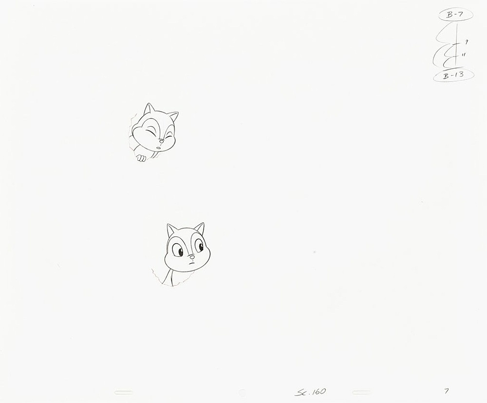 """Mathias Poledna – """"Untitled (animation drawing)"""", 2013 – 2015 44 parts, graphite and red pencil on punched 16 field animation bond paper each 34,3 x 41,9 cm (framed each 43 x 51 cm)"""