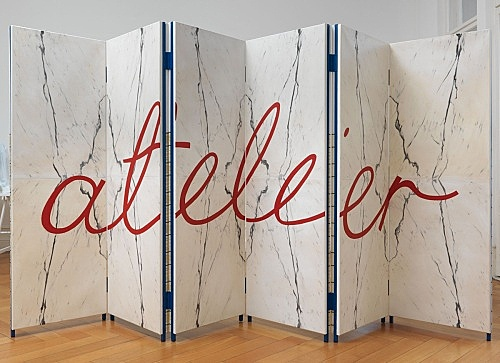 """Atelier E.B – """"Paravent IX (Mirrored Blond Vein/Tartan)"""", 2015 double sided folding screen in six parts, oil on canvas mounted on wood, silkscreen on cotton mounted on wood, steel frame 180 x 360 x 6,5 cm installation view Galerie Buchholz, Berlin 2015"""