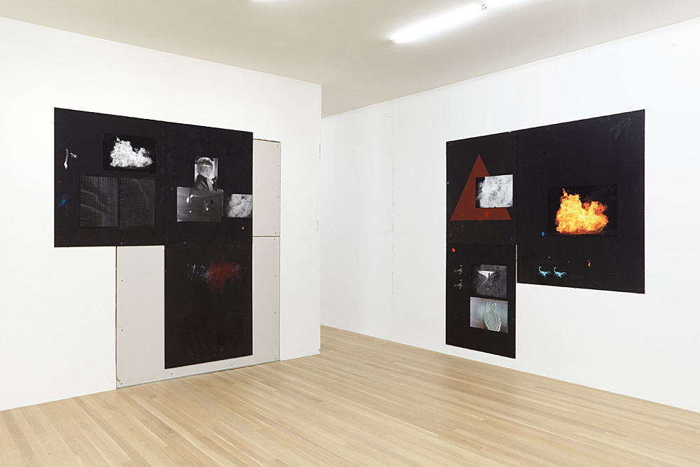 "Henrik Olesen – ""After Dhalgren I"", 2015 acrylic and oil on masonite board, collage 212 x 168 cm & ""After Dhalgren II"", 2015 acrylic and oil on masonite board, collage 210 x 195 cm installation view Galerie Buchholz, New York 2016"