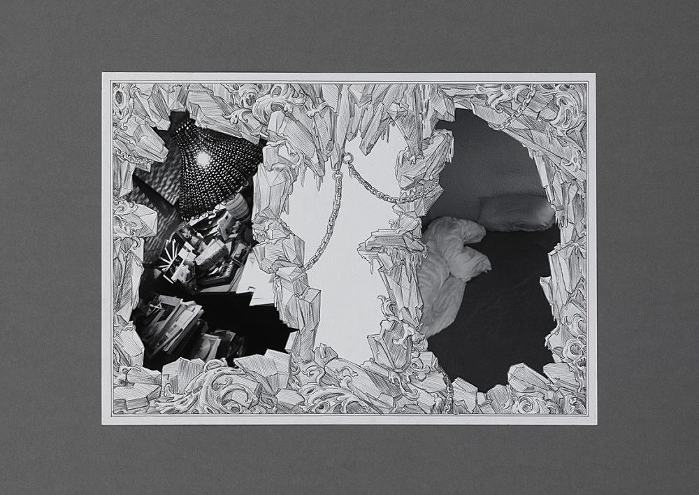 "Julian Göthe – ""We Meet Under Tables 3"", 2016 pencil drawing, xerox, collage, mounted on cardboard 59.5 x 84 cm"