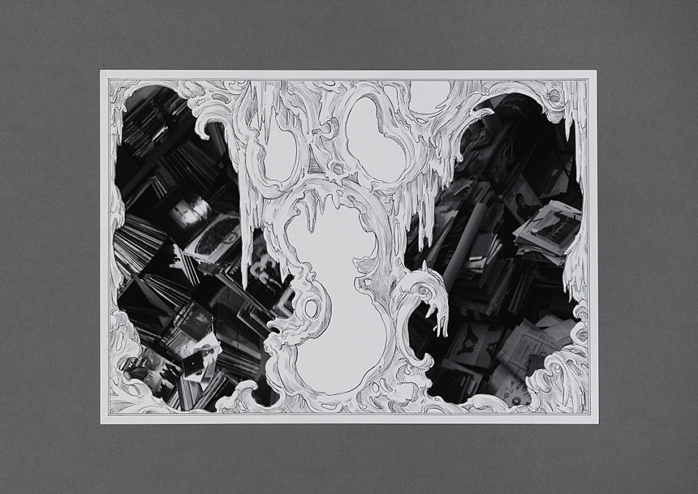 "Julian Göthe – ""We Meet Under Tables 1"", 2016 pencil drawing, xerox, collage, mounted on cardboard 59.5 x 84 cm"