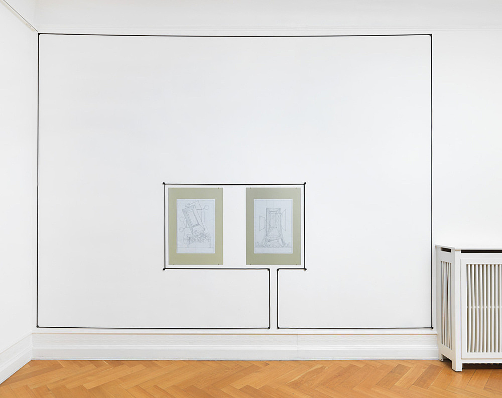"""Julian Göthe – Untitled, 2016 rope, metal screws, paint size variable & """"Les Feux d'Artifice pour le Spectacle 2"""", 2016 pencil drawing mounted on cardboard 84 x 59.5 cm & """"Les Feux d'Artifice pour le Spectacle 1"""", 2016 pencil drawing mounted on cardboard 84 x 59.5 cm installation view Galerie Buchholz, Berlin 2016"""