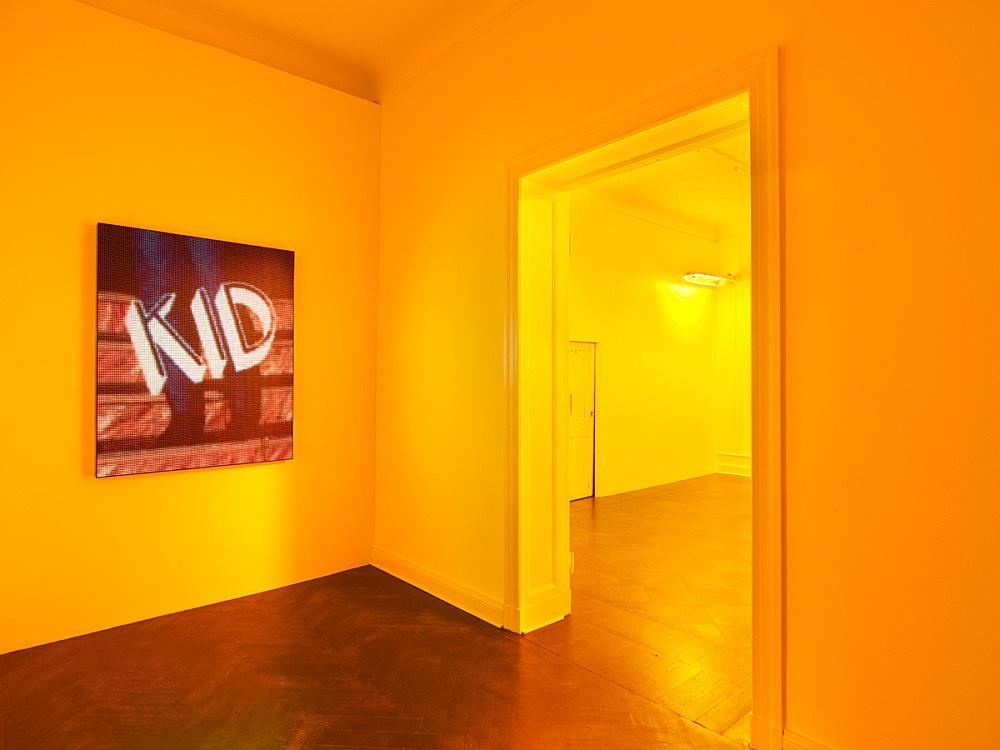 "Mark Leckey – ""Dream English Kid (LED)"", 2015 LED screen 144.5 x 112.5 x 7.6 cm installation view Galerie Buchholz, Berlin 2016"