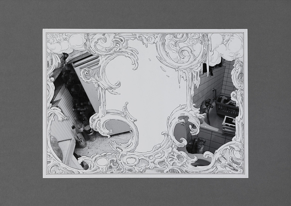"Julian Göthe – ""We Meet Under Tables 2"", 2016 pencil drawing, xerox, collage, mounted on cardboard 59.5 x 84 cm"