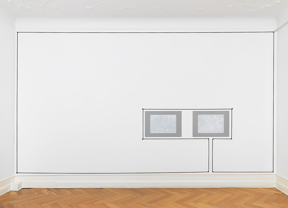 """Julian Göthe – Untitled, 2016 rope, metal screws, paint size variable & """"Remove for Improvement 2"""", 2016 pencil drawing mounted on cardboard 59.5 x 84 cm & """"Remove for Improvement 3"""", 2016 pencil drawing mounted on cardboard 59.5 x 84 cm installation view Galerie Buchholz, Berlin 2016"""