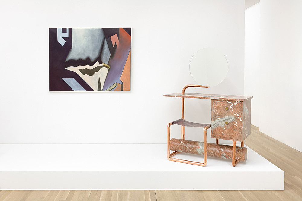 """Lucy McKenzie – """"Breche abstract"""", 2015 oil on canvas in artist frame framed 94,5 x 122,5 x 4 cm & """"Quodlibet LXI (Cerfontaine Coiffeuse)"""", 2015 oil on canvas stretched on MDF, copper, mirror 142 x 98 x 50 cm installation view Galerie Buchholz, New York 2016"""