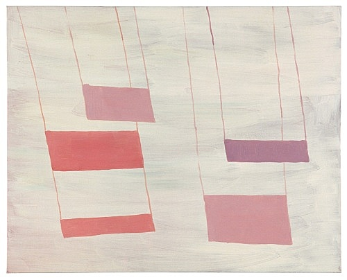 "Richard Hawkins – ""Grayish with pink, upside-down"", 2000 oil on canvas 61 x 77 cm"