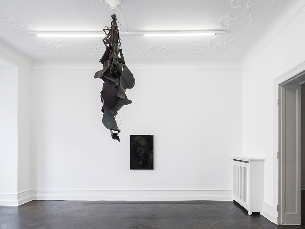 Lutz Bacher – Heavy Leather, 2015 black leather dimensions variable dimensions installed: approx. 207 x 59 x 50 cm & Albert, 2016 b&w lithograph in black plexiglas box 94,6 x 64,5 x 6,7 cm installation view Galerie Buchholz, Berlin 2016