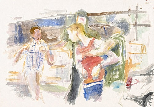 "John Kelsey – ""Dans la rue, 2"", 2016 watercolor on arches paper 35 x 50,5 cm framed 42,5 x 57,5 x 3 cm"