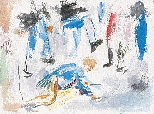 "John Kelsey – ""Dans la rue, 1"", 2016 watercolor on arches paper 22,7 x 31 cm framed 30 x 38 x 3 cm"