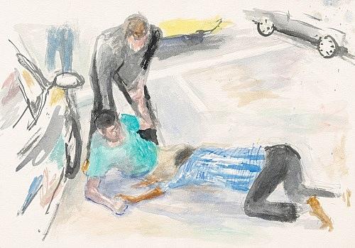 "John Kelsey – ""Dans la rue, 6"", 2016 watercolor on arches paper 35 x 50,5 cm framed 42,5 x 57,5 x 3 cm"