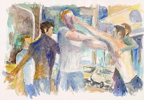 "John Kelsey – ""Dans la rue, 7"", 2016 watercolor on arches paper 35 x 50,5 cm framed 42,5 x 57,5 x 3 cm"