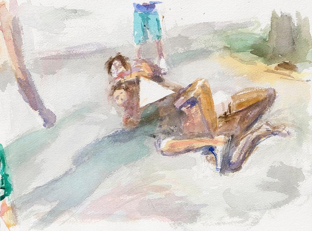 "John Kelsey – ""Dans la rue, 4"", 2016 watercolor on arches paper 22,7 x 31 cm framed 30 x 38 x 3 cm"