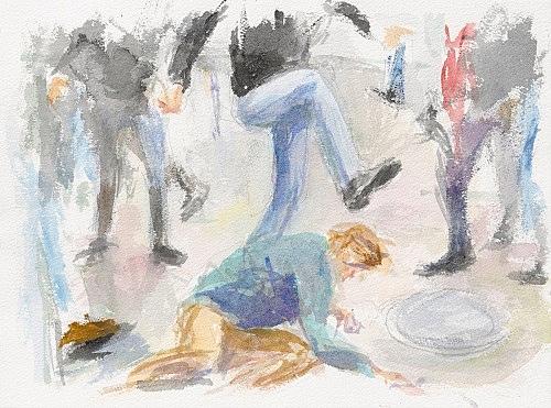 "John Kelsey – ""Dans la rue, 5"", 2016 watercolor on arches paper 22,7 x 31 cm framed 30 x 38 x 3 cm"