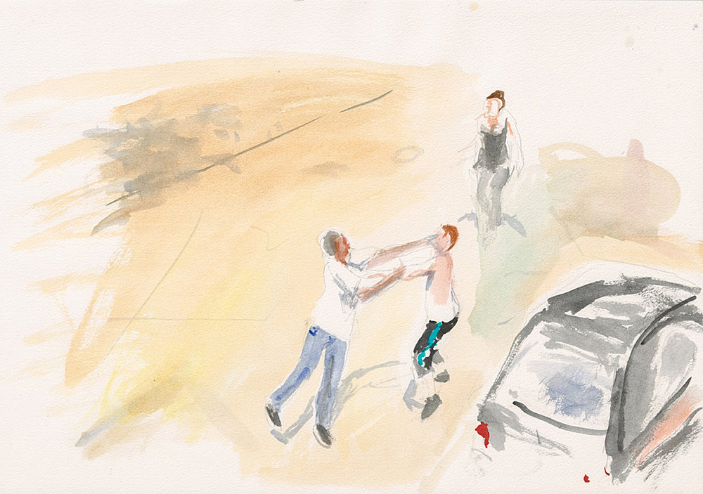 "John Kelsey – ""Dans la rue, 11"", 2016 watercolor on arches paper 35 x 50,5 cm framed 42,5 x 57,5 x 3 cm"