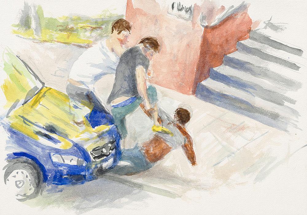 "John Kelsey – ""Dans la rue, 10"", 2016 watercolor on arches paper 35 x 50,5 cm framed 42,5 x 57,5 x 3 cm"