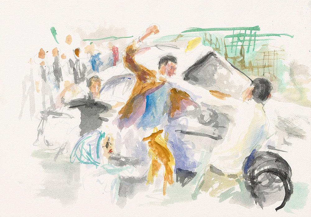 "John Kelsey – ""Dans la rue, 9"", 2016 watercolor on arches paper 35 x 50,5 cm framed 42,5 x 57,5 x 3 cm"