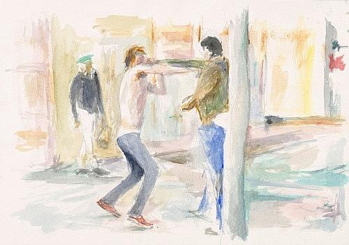 "John Kelsey – ""Dans la rue, 12"", 2016 watercolor on arches paper 35 x 50,5 cm framed 42,5 x 57,5 x 3 cm"