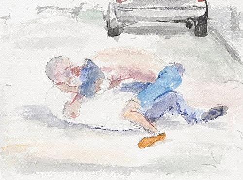 "John Kelsey – ""Dans la rue, 13"", 2016 watercolor on arches paper 22,7 x 31 cm framed 30 x 38 x 3 cm"