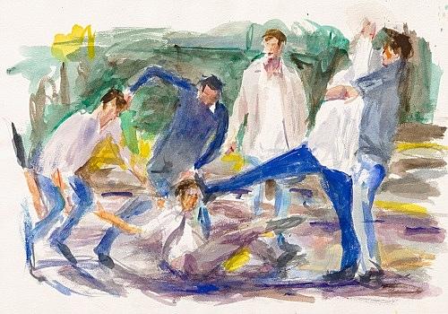 "John Kelsey – ""Dans la rue, 14"", 2016 watercolor on arches paper 35 x 50,5 cm framed 42,5 x 57,5 x 3 cm"