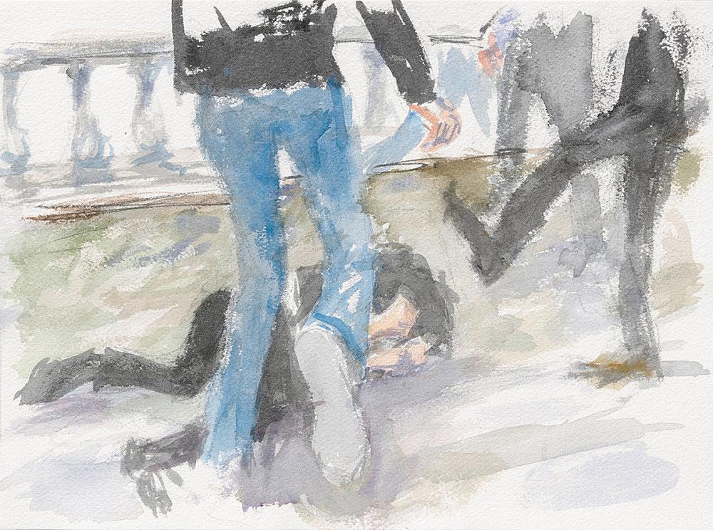 "John Kelsey – ""Dans la rue, 16"", 2016 watercolor on arches paper 22,7 x 31 cm framed 30 x 38 x 3 cm"