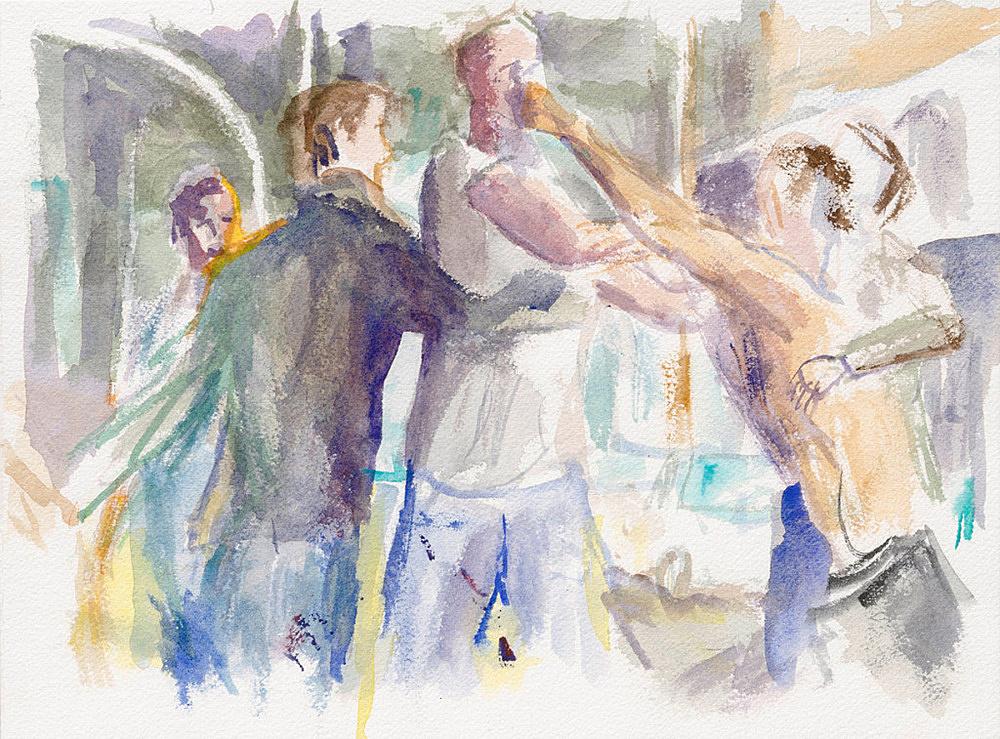 "John Kelsey – ""Dans la rue, 17"", 2016 watercolor on arches paper 22,7 x 31 cm framed 30 x 38 x 3 cm"