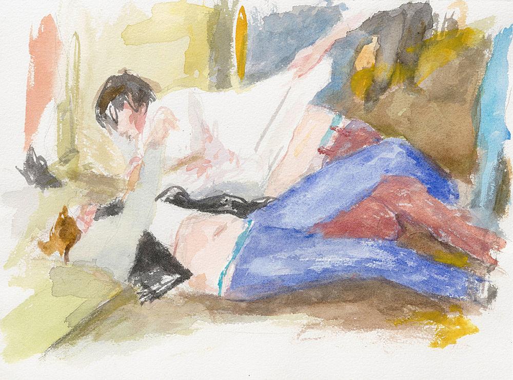 "John Kelsey – ""Dans la rue, 18"", 2016 watercolor on arches paper 22,7 x 31 cm framed 30 x 38 x 3 cm"