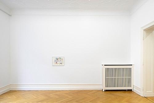 "John Kelsey – ""Dans la rue, 3"", 2016 watercolor on arches paper 35 x 50,5 cm framed 42,5 x 57,5 x 3 cm installation view Galerie Buchholz, Berlin 2016"