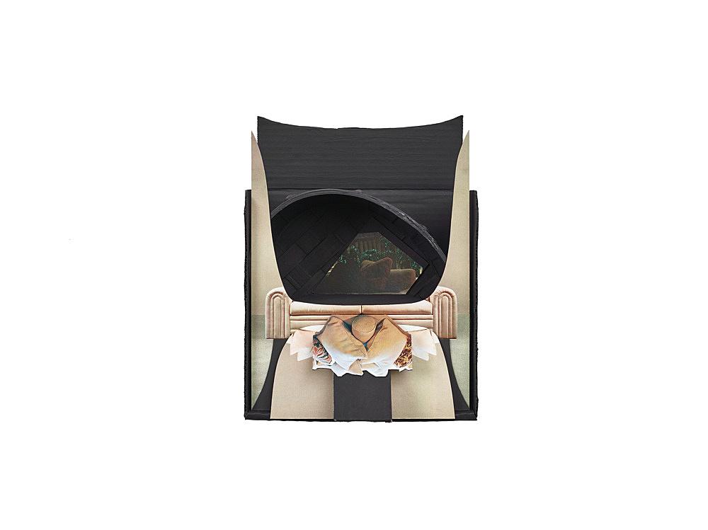 Vincent Fecteau – Untitled, 2015 cardboard, wicker basket, acrylic, paper 30.5 x 22.5 x 16.5 cm