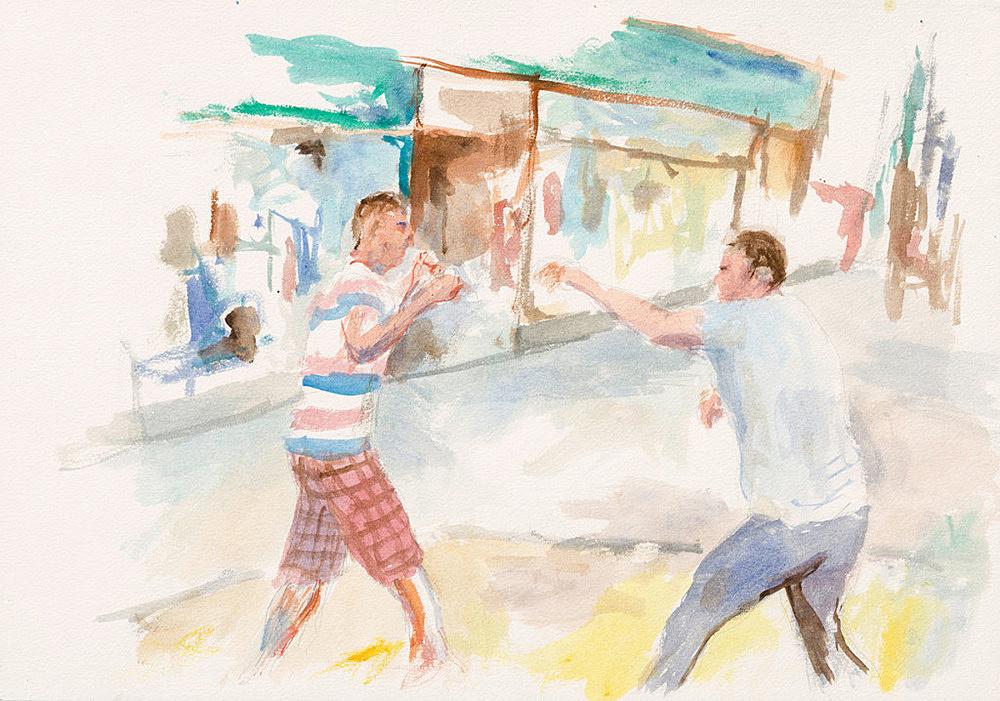 "John Kelsey – ""Dans la rue, 3"", 2016 watercolor on arches paper 35 x 50,5 cm framed 42,5 x 57,5 x 3 cm"
