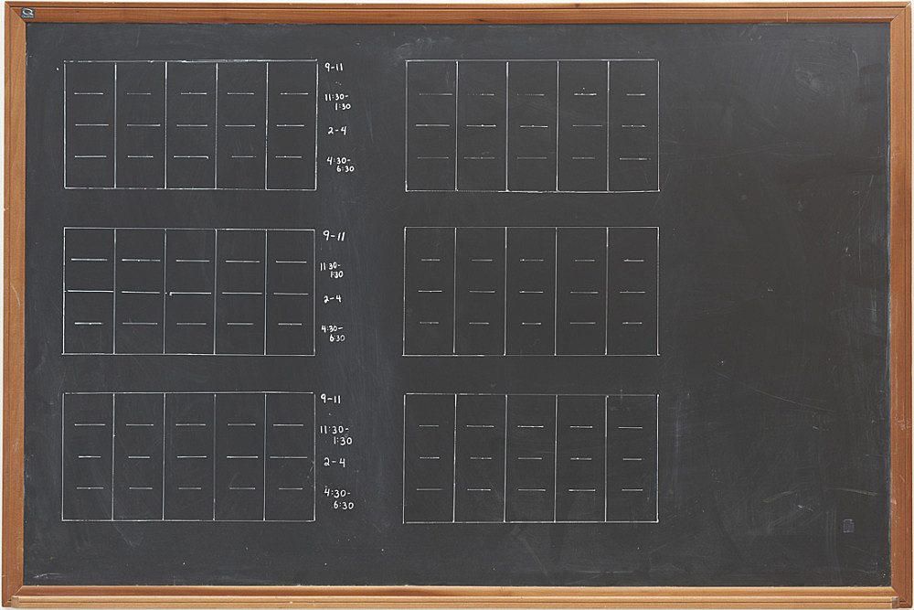 Lutz Bacher – Chalkboard (Time), 2015 wood, board, chalkboard paint, acrylic 122,5 x 182,5 x 4 cm