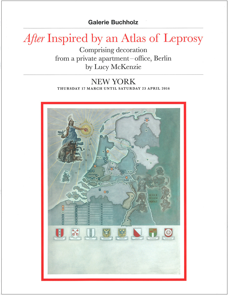 "Lucy McKenzie – ""After Inspired by an Atlas of Leprosy"" 2016, 42 pages, Owrps, fully illustrated, 27 x 21 cm Edition 800 Euro 20,- – This artist's book is published on the occasion of two exhibitions by Lucy McKenzie, one at our gallery in Berlin and the other at our New York gallery. The book takes the form of an inventory from an estate sale. It lists all items and describes them with faux provenances and sources."
