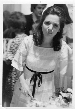 – Photograph of Helen Tworkov at her wedding reception taken by Walker Evans, drawing on photo by Helen Tworkov 12.5 x 8.8 cm from the archive of Douglas Crimp