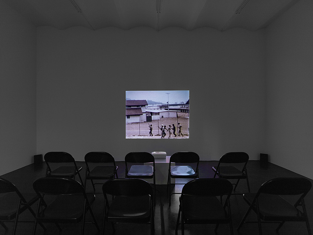 """Tony Conrad – """"Beholden to Victory"""", 1980/2007 Super-8 transferred to digital medium, color, sound, installation, infinite sequence, dimensions variable installation view Galerie Buchholz, Köln 2016"""