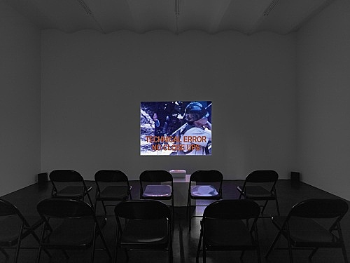 "Tony Conrad – ""Beholden to Victory"", 1980/2007 Super-8 transferred to digital medium, color, sound, installation, infinite sequence, dimensions variable installation view Galerie Buchholz, Köln 2016"