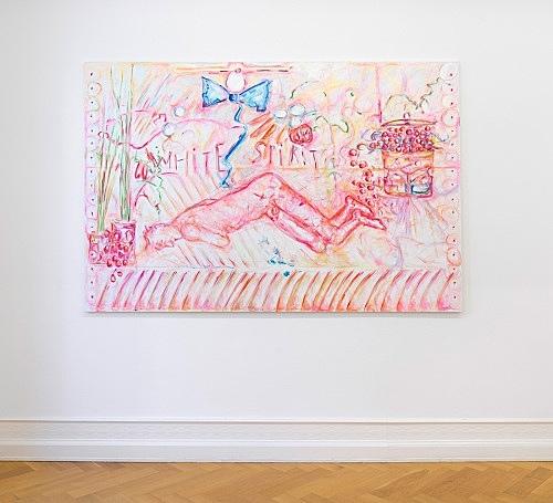 "Jutta Koether – ""Freud Broodthaers #1"", 2016 oil on canvas 180 x 270 cm installation view Galerie Buchholz, Berlin 2016"