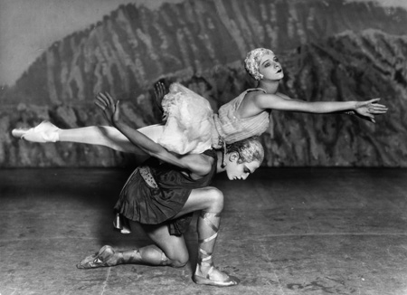 "– Alexandra Danilova and Serge Lifar in the ""swimming lesson"" in the original Ballet Russes production of Balanchine's Apollo, 1928 photograph by Sasha/Getty Images exhibition print"